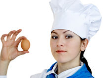 Woman in chef hat royalty free stock photos