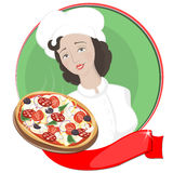 Woman chef holding a pizza on a tray  an Italian pizza,  Royalty Free Stock Photo