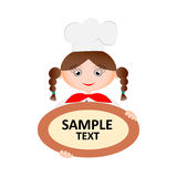 Woman chef holding a plate. Woman chef holding a plate with the text. Vector illustration Royalty Free Stock Image