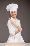 Woman Chef Holding Rolling Pin Stock Image