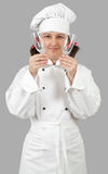 Chef holding two glasses of wine Royalty Free Stock Image