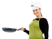 Woman chef holding a wok pan Stock Image
