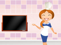 Woman chef. Illustration of woman chef in the kitchen vector illustration