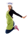 Woman chef jump for joy Royalty Free Stock Image