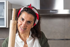 Woman chef making spaghetti Stock Photography
