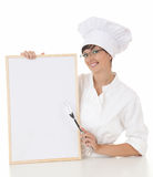 Woman chef with menu Stock Images