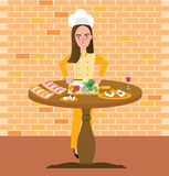 Woman chef near table full of food girls profession as cooking expert Stock Image