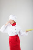 A woman chef not happy Royalty Free Stock Photos