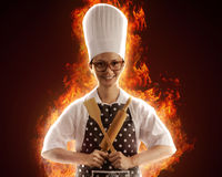 Woman Chef On Fire Stock Images