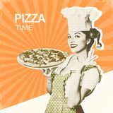 Woman chef and pizza.Retro poster on old paper background for te. Woman chef and pizza.Retro poster on old paper background with text Royalty Free Stock Photos