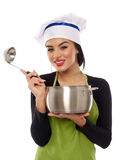 Woman chef with pot and ladle Stock Photography