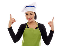 Woman chef presenting product Stock Photos