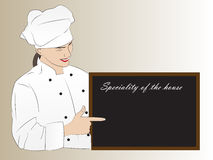 Woman chef presenting speciality of the house. Vector illustration of a pretty chef presenting on the blackboard the speciality of the house stock illustration