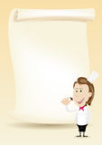 Woman Chef Restaurant Poster Menu background. Illustration of a happy cook woman showing her menu on a parchment background Royalty Free Stock Image
