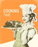 Woman chef and roasted chicken.Retro poster on old paper backgro. Und with text Royalty Free Stock Images