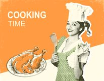 Woman chef and roasted chicken.Retro poster on old paper backgro. Und with text Stock Photos
