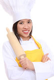 Woman Chef with Rolling Pin Royalty Free Stock Images