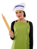 Woman chef with rolling pin Royalty Free Stock Photography