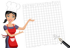 Woman Chef Showing Empty Squared Sheet. Illustration featuring a beautiful smiling woman chef presenting inviting or showing something on blank squared sheet vector illustration