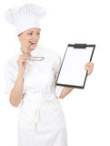 Woman chef smiling holding blank clipboard Stock Images