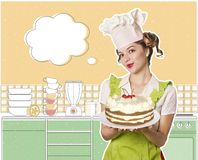 Woman chef and sweet cake on the plate Stock Photos
