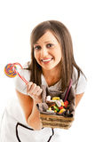 Woman chef with sweets Royalty Free Stock Photo