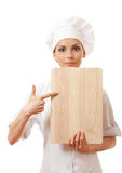 Woman Chef In Uniform With Cutting Board, Isolated Royalty Free Stock Photos