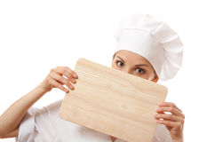 Woman Chef In Uniform With Cutting Board, Isolated Stock Images
