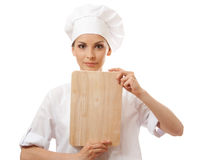 Woman Chef In Uniform With Cutting Board, Isolated Royalty Free Stock Photo