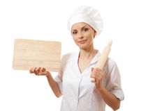 Woman Chef In Uniform With Cutting Board, Isolated Stock Image