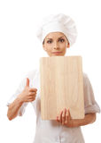 Woman Chef In Uniform With Cutting Board, Isolated Royalty Free Stock Image