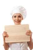 Woman Chef In Uniform With Cutting Board, Isolated Stock Photography