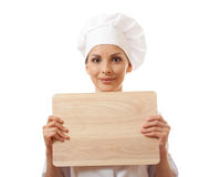 Woman Chef In Uniform With Cutting Board,  Royalty Free Stock Photos