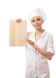 Woman Chef In Uniform With Cutting Board,  Royalty Free Stock Image