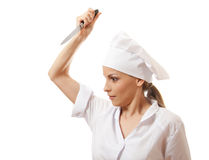 Woman Chef in uniform holding a kitchen knife Stock Photography