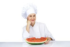 Woman chef in uniform. Isolated on white background Royalty Free Stock Photography