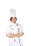 Woman chef in white uniform Stock Images