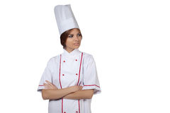 Woman chef in white uniform Stock Photo