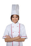Woman chef in white uniform Stock Photography