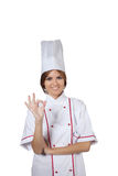 Woman chef in white uniform Royalty Free Stock Images