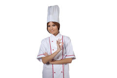Woman chef in white uniform Stock Image