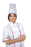 Woman chef in white uniform Royalty Free Stock Image