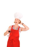 Woman chef with wine Royalty Free Stock Photography
