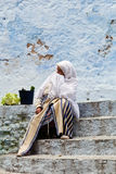 Woman in Chefchaouen, Morocco Royalty Free Stock Photo