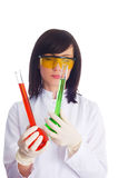 Woman with chemical tubes Stock Photography