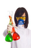 Woman with chemical tubes Stock Photos