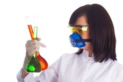 Woman with chemical tubes in the labatory on white. Woman with chemical tubes  in the labatory on white Stock Image