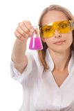 Woman chemist and chemicals in flasks Stock Images