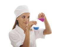 Woman chemist and chemicals in flasks Royalty Free Stock Photo