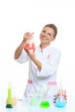 Woman chemist and chemicals in flasks, isolated on Stock Image